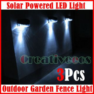 3X Outdoor Path Wall Solar Powered LED Fence Light Lamp