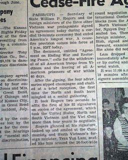 Paris Peace Accords Signing Vietnam War 1973 Newspaper