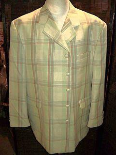 D23 48R Stacy Adams Blazer Sport Coat Jacket Plaid Hand Stitched Mens