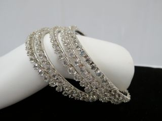 Lee Angel Swarovski Crystal Sterling Silver Bangle Set of 5 $230