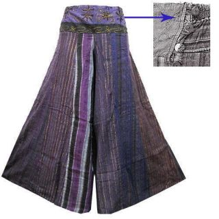 Boho Hippie Cotton Wide Leg Long Gaucho Pants EF22