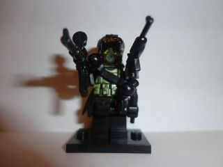 custom lego minifig military army W brickarms weapons vest gas mask