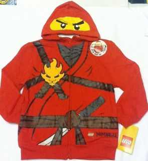 New LEGO Ninjago KAI Boys Hoodie Sweatshirt Sz 7 Costume w Pocket Red
