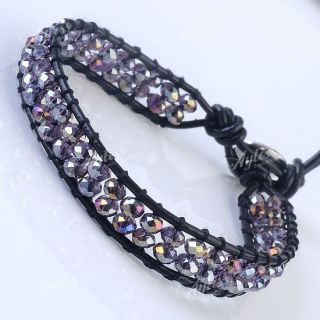 Double Two Crystal Glass Bead Leather Wrap Bracelet Bangle