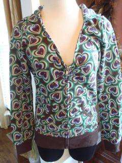 Charlotte Russe Heart Zip Front Green Brown Blue Sweatshirt Hoodie