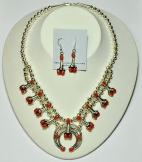 Coral Squash Blossom Necklace Earrings Set Phil Lenore Garcia