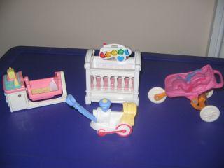 Loving Family dollhouse doll baby stroller musical light crib music