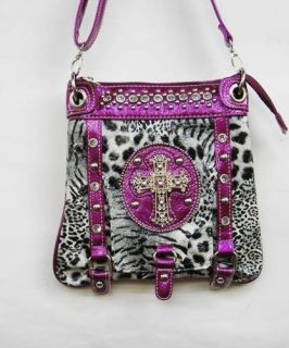 Animal Print Handbag Western Crystal Cross Studs Small Purse