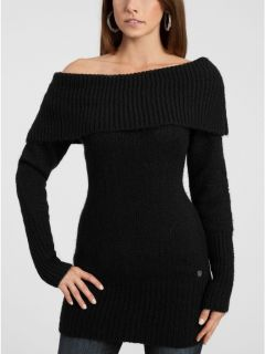 Guess Jeans L s Black Vamp Off Shoulder Sweater