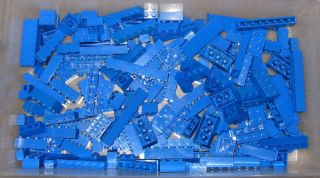 Lego Blue Bricks Lot of 210 Bulk Lot Building Parts Pieces Gently Used