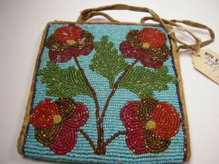 Authentic VTG Native American Beaded Purse 1920s ? Sioux LeQuire USED
