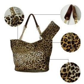 PU Leather Leopard Print Handbag Tote Bag Chain Handles Purse