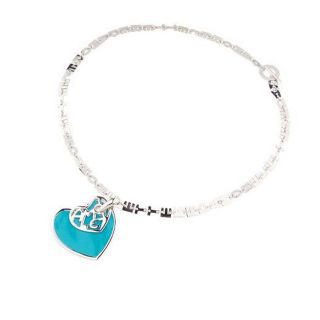 Leopoldo Poli Sterling Silver Turquoise Enamel Heart Pendant