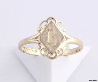 Ring Solid 14k Yellow Gold Engraved Old English Letter Estate