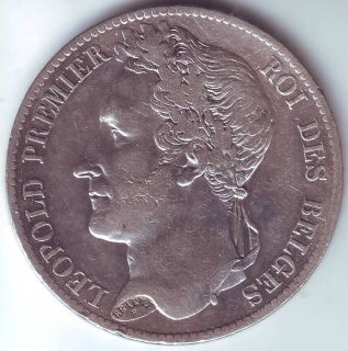 Francs 1833 Leopold I Silver Coin from Belgium Belgique