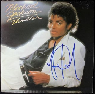 MICHAEL JACKSON THRILLER SIGNED ALBUM COVER W/ VINYL AUTOGRAPH PSA/DNA