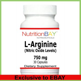 Arginine Amino Acid Nitric Oxide Levels 750 MG 30 Capsules