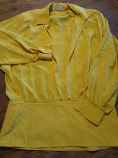 ESCADA by Margaretha Ley Yellow 100 Silk Shirt Blouse Top Size 38