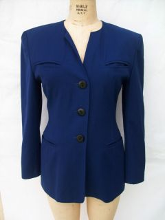 ESCADA Margaretha Ley Collarless Wool Suit Blazer Jacket 38 8