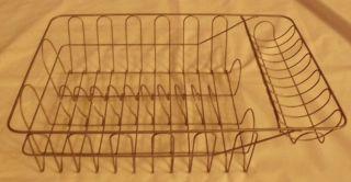 Vintage Primitive Metal Wire Kitchen Dish Drainer Drying Rack Rustic
