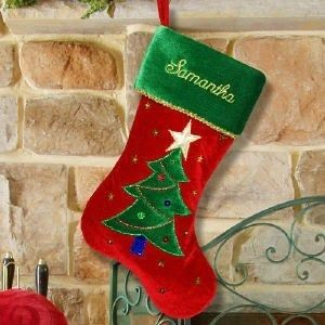 Personalized Embroidered Christmas Tree Stocking Red Velvet