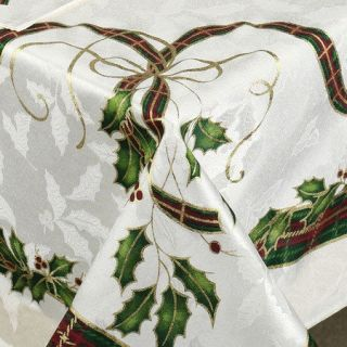 120 Lenox Christmas Holiday Nouveau Tablecloth Oblong 60x120 Seats 10