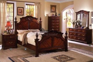 Lewisburg Poser Queen Bedroom Se in Dark Cherry Finish
