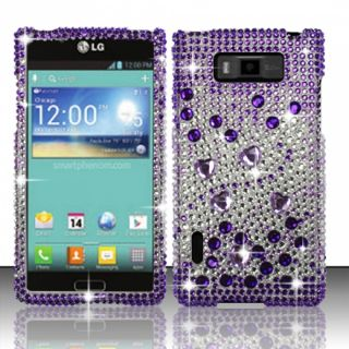 LG Splendor US730 Crystal Diamond Bling Hard Case Phone Cover Purple