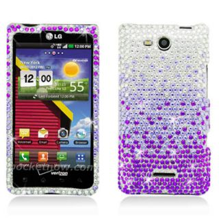 For LG Lucid 4G Crystal Diamond BLING Hard Case Snap Phone Cover
