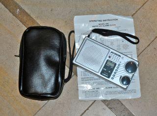 Vintage Lifelong Model 845 AM FM LCD Alarm Clock Radio with Travel