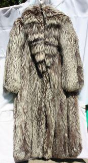 Silver Fox Fur Full Length Coat Leppert Roos Size 12 Mint