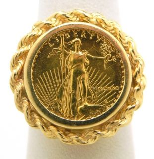 Beautiful Ladies 14k Yellow Gold Liberty Coin Rope Bezel Ring
