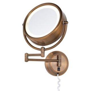 Diablo Bronze Reversible 5X 1x Plug in Lighted Makeup Mirror