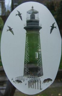 15x23 Lighthouse Etched Glass Window Decal Vinyl Cling