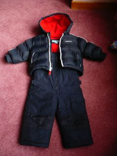 London Fog Boys Red Navy Blue Winter Coat and Snow Pants Sz 18mths