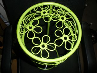 Beautiful Ornate Lime Green Round Flower Design Iron Plant Stand