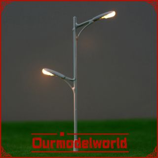 scale model train lamppost white double bulbs street light 9 0cm T63