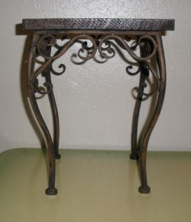 Beautiful Ornate Wooden Top Plant Stand with Metal Frame