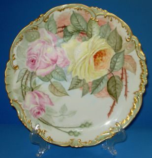 ANTIQUE FRENCH LIMOGES PORCELAIN PLATE BAWO DOTTER ELITE HAND PAINTED
