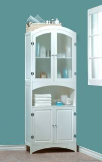 New White Wood Linen Cabinet Bathroom Storage Laundry Room Decor