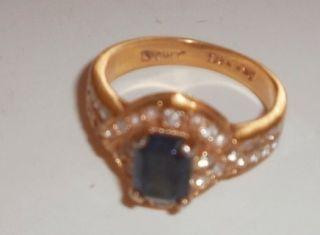 Vintage Lind Blue Topaz Rhinestone 14kt Hge Ring Size 9