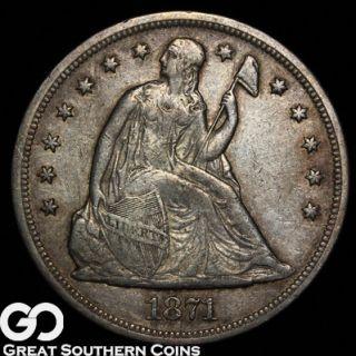 1871 Seated Liberty Silver Dollar Choice XF