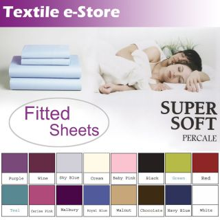 Soft Non Iron Fitted Sheet Bed Linen Sizes Single Double King Super