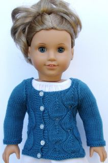 Eva Cardigan Sweater Knitting Pattern 18 Inch Dolls American Girl Doll