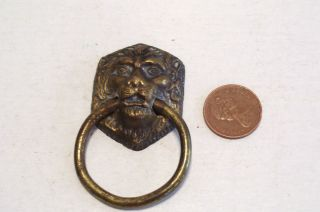Antique Cast Brass Lion Head Drawer Pull Handle Dresser Chest