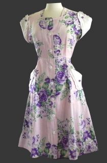 VINTAGE 40s PINK & PURPLE LINEN HOUSE DAY DRESS FLORAL w LACE TRIM sz