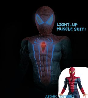 Light Up Spiderman Costume Boys Spider Man Childs Kids New Movie