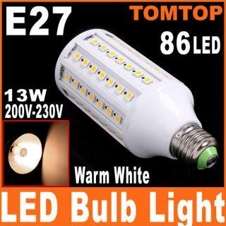 E27 13W 86 LED Warm White Corn Light SMD 5050 Bulb Lamp 200V 230V