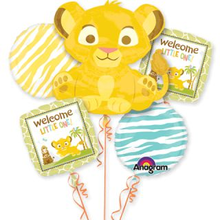 Lion King Baby Simba Five Piece Mylar Balloon Bouquet Welcome Little