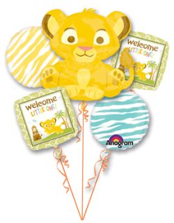 SIMBA Lion King (5) Welcome Little One Baby Shower Party Mylar Bouquet